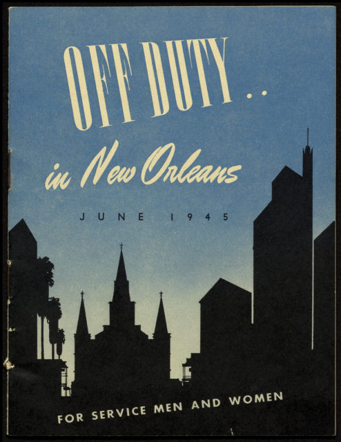 Cover of a guidebook to New Orleans for WWII-era servicemen and women