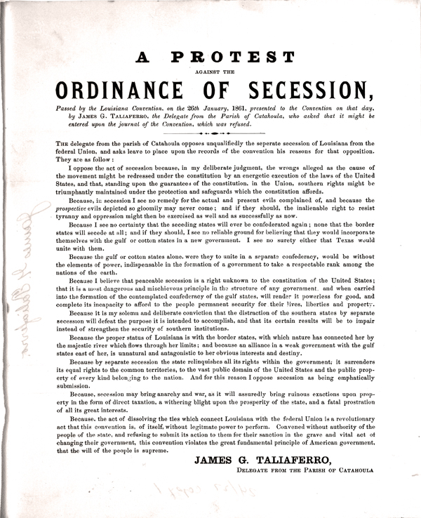 A protest against the ordinance of secession