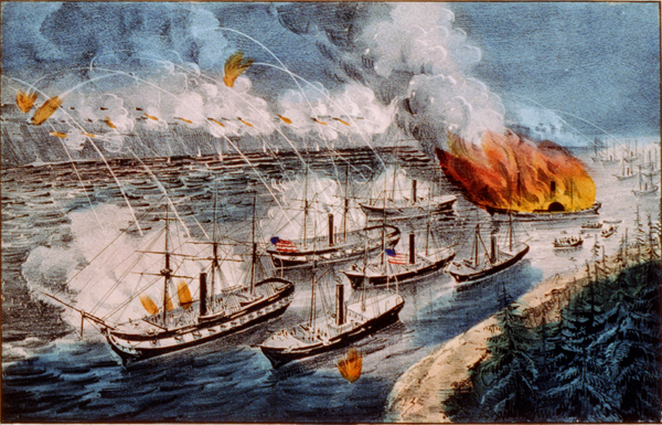 Admiral Farragut's fleet engaging the rebel batteries at Port Hudson, March 14th 1863