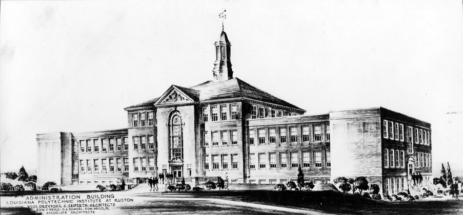 Architectural rendering of the Administration building at Louisiana Polytechnic Institute in Ruston c.1939.