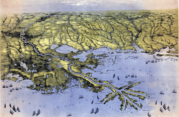 An 1861 bird's eye view of Louisiana, Mississippi, Alabama and part of Florida