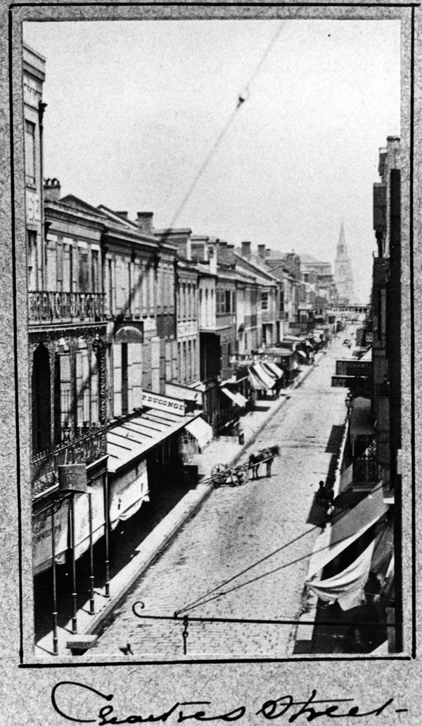 Chartres Street in New Orleans Louisiana circa 1865.
