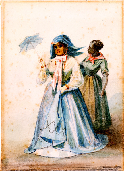 """Creole Woman of Color with Maid"""