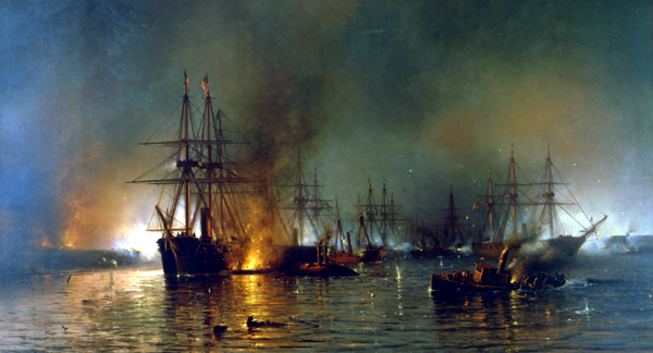 """Farragut's Fleet Passing the Forts Below New Orleans"""