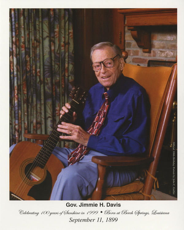Former Governor Jimmie Davis with guitar at 100 years old
