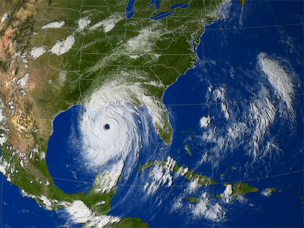 Hurricane Katrina IR clouds from GOES on August 29, 2005