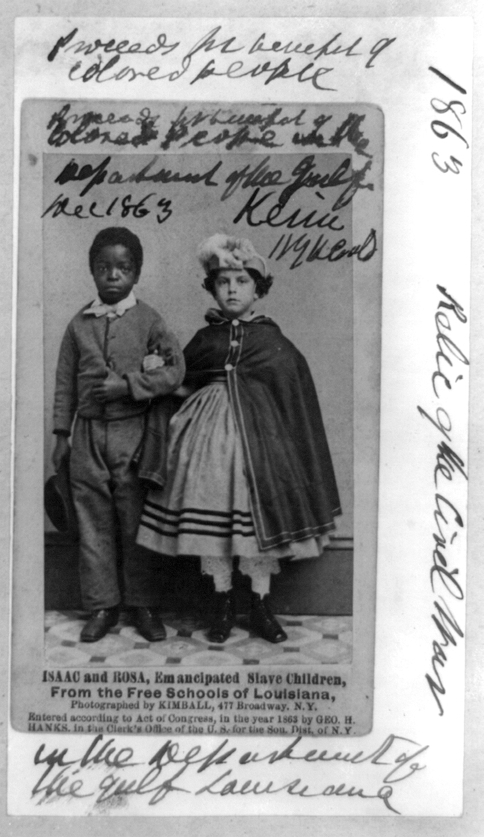 """Isaac and Rosa. Emancipated slave children from the free schools of Louisiana"""