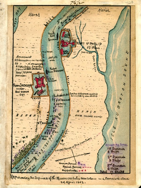 """""""Map showing the defenses of the Mississippi below New Orleans and Farraguts attack 24 April 1862"""""""