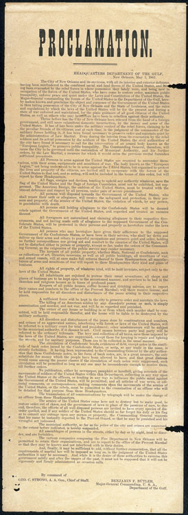 Proclamation, Headquarters, Department of the Gulf, New Orleans, May 1st, 1862