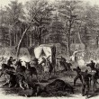 Rebel Attack on General Albert Lee's Wagon Train at Mansfield, Louisiana