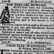 Ten Dollars Reward, Newspaper Advertisement for the Return of a Runaway Slave