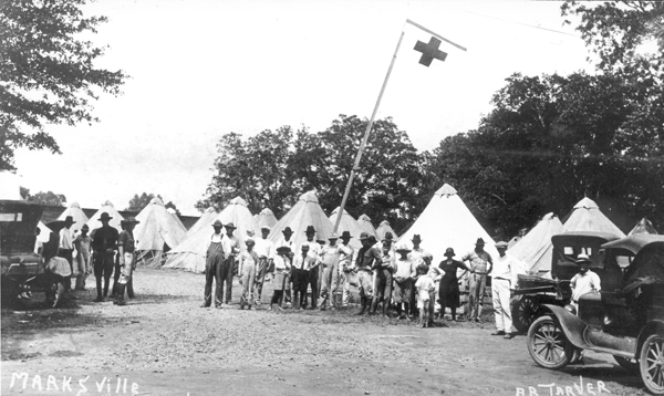 Tent city for refugees at Marksville, during the 1927 flood.