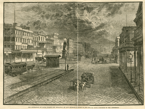 The Desolation of Canal Street, the Broadway of New Orleans––Victims of the Fever being conveyed to the cemeteries