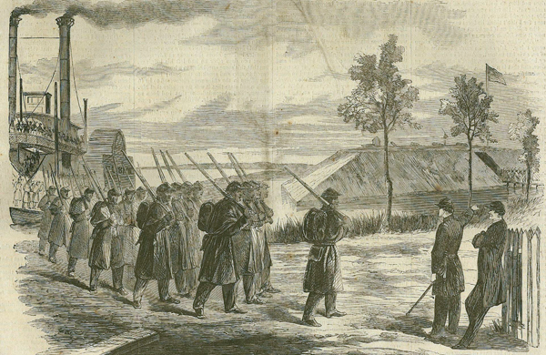 The First Regiment of the Louisiana Native Guards disembarking at Fort Macomb, Louisiana