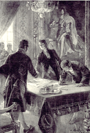 The Signing Of The Louisiana Purchase Treaty By Marbois, Livingston and Monroe