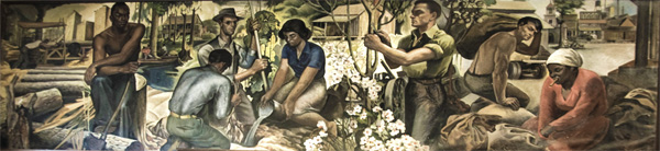 """Tung Oil Industry,"" post office mural by Xavier Gonzalez"