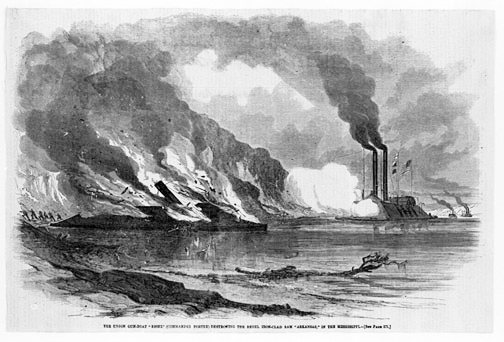 "Union Gun-boat ""Essex"" Destroying the Rebel iron-clad ram ""Arkansas"" in Mississippi"
