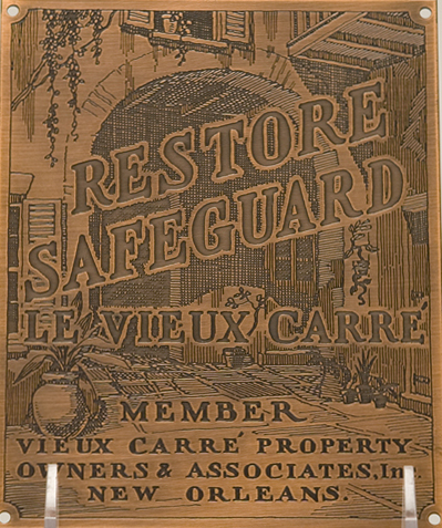 Vieux Carre Property Owners and Associates plaque