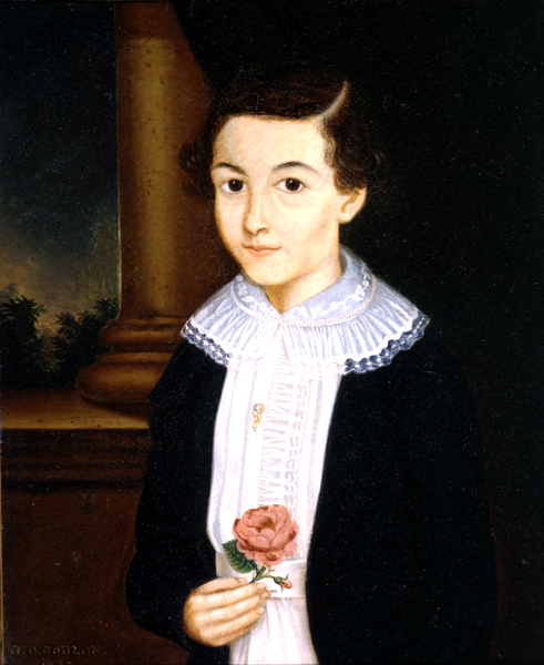 """Young Boy Holding a Rose"""