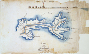 View of the Balise, Plan of the Mouths of Mississipi