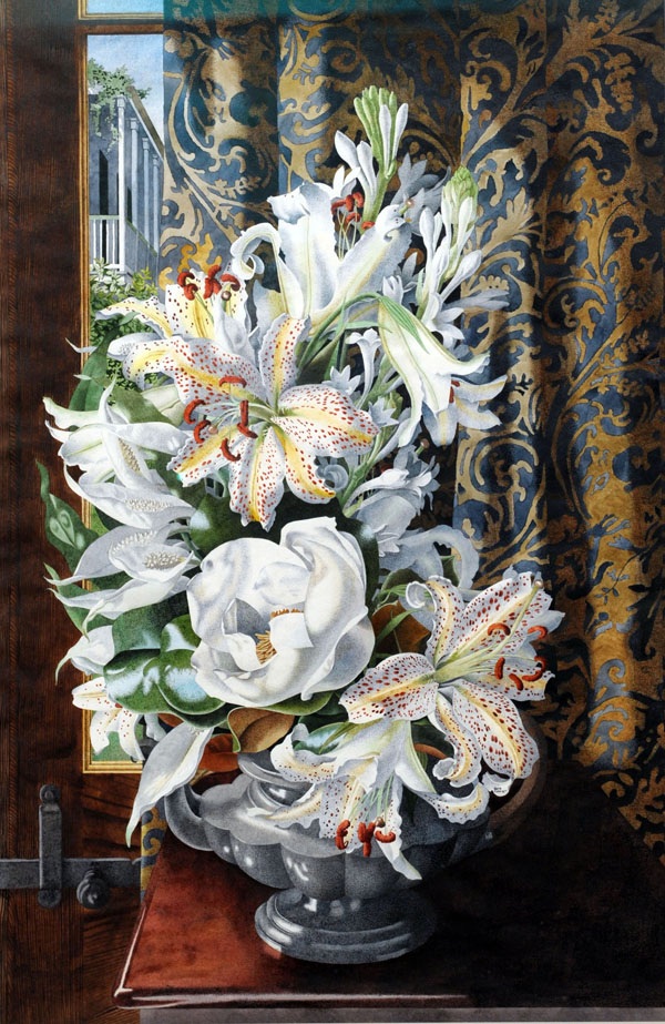 New Orleans Still Life with Urn of Lilies and Magnolia