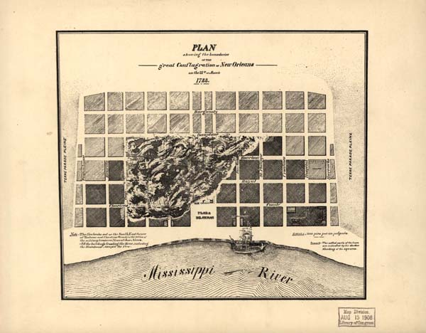 Plan showing the boundaries of the great conflagration of New Orleans on the 21st of March 1788