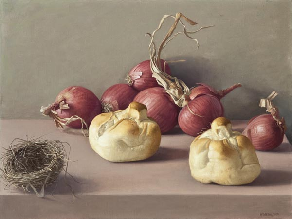 Still Life with Bread, Onions and Bird's Nest