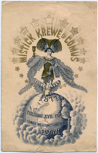 Mistick Krewe of Comus 1877 ball invitation