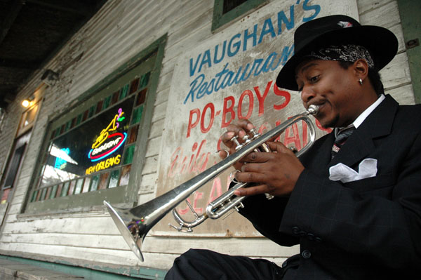 Kermit Ruffins in Front of Vaughn's Lounge