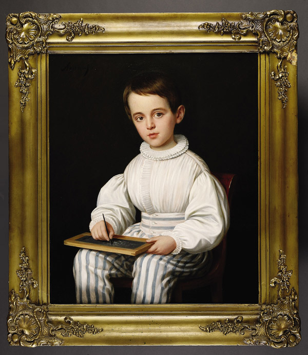 Portrait of Robert Roman Holding a School Slate Board, Son of Aimée and Louisiana Governor and André Bienvenu Roman