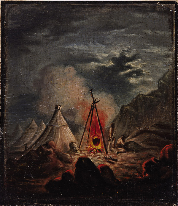 Indian Encampment at Night