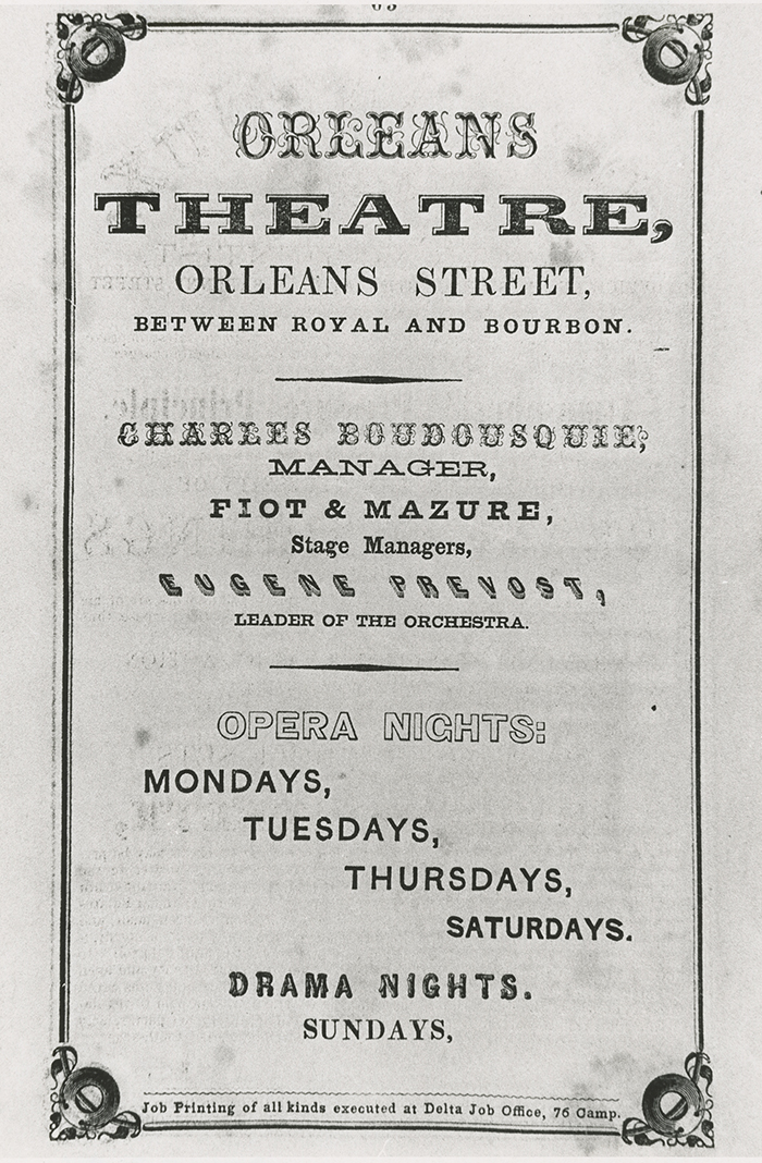 Advertisement for Orleans Theatre