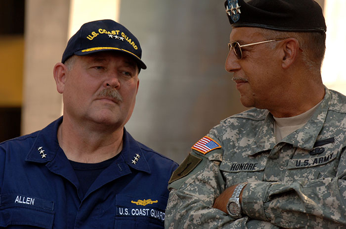 US Coast Guard Vice Admiral Thad Allen and General Honore