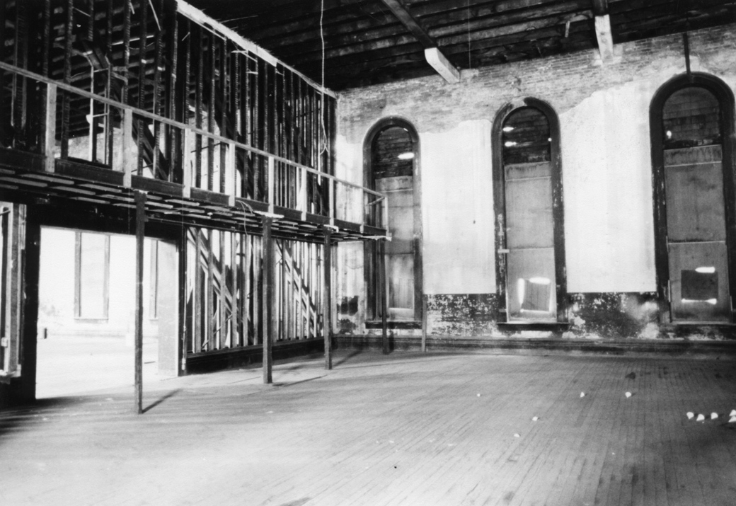 Two-story floor-toceiling windows grace what was once a ballroom at Turners' Hall. Photograph by Allen Karchmer