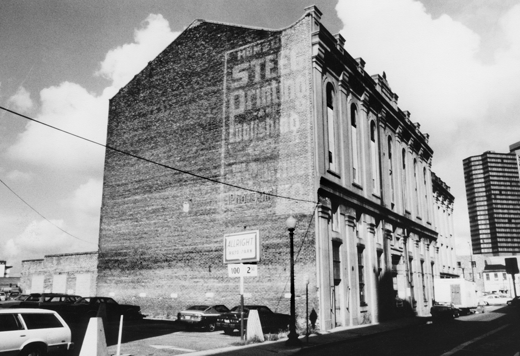Turners' Hall fell into decline during the mid-20th century. From 1955 to 1979, it served as a furniture warehouse and used appliance store. Photograph by Allen Karchmer