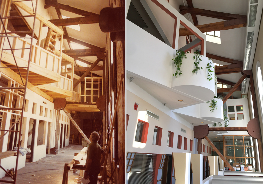 A two-story upper ballroom was transformed into three stories of loft office space within a naturally litatrium during a 1982 renovation by Errol Barron/Michael Toups Architects. (right) photograph by Robert Brantley, (left) by Allen Karchmer.