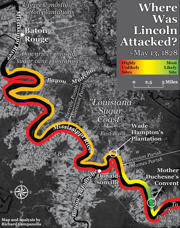 Richard Campanella identifies the area mapped in green tones, on the east bank of the Mississippi near the present-day town of Convent, as the most likely site of attack upon Lincoln. The site is a few hundred feet upriver from present-day St. MichaelÕs Church.