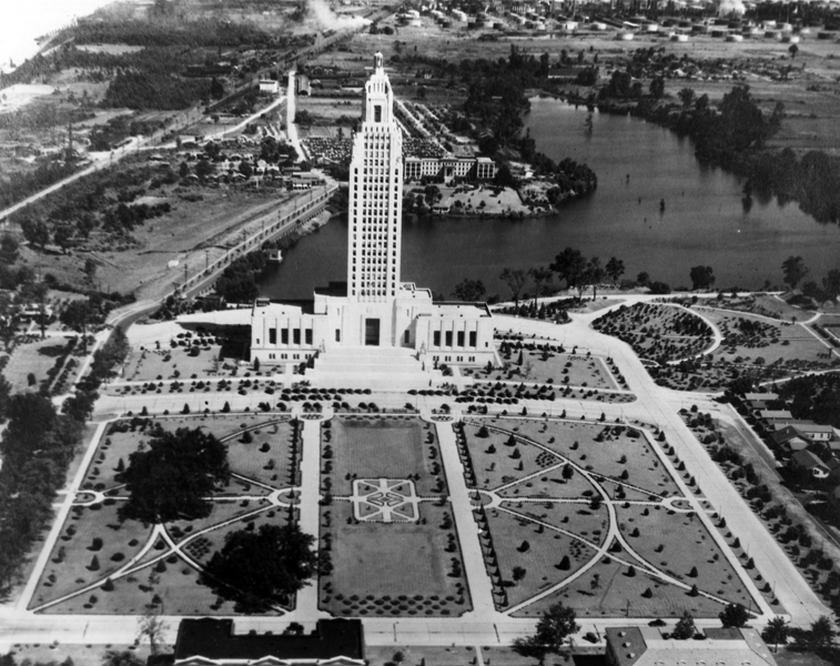 Aerial photo of the Louisiana State Capitol and grounds.