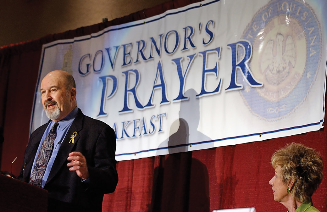 Governor Mike Foster, pictured here at a 2003 prayer breakfast with his wife, Alice, purchased a mailing list from David Duke in 1995 for $152,000. Ultimately, Foster never used the list in his campaigns. Courtesy of the Advocate, photo by Bill Feig