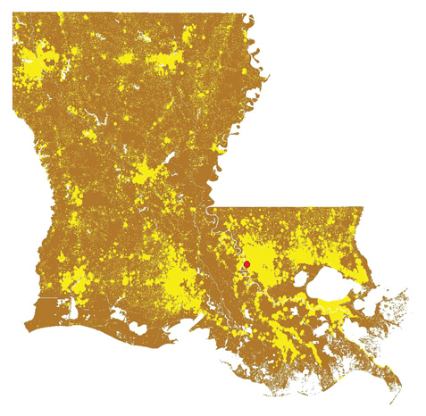 Residents of Louisiana (shown in yellow dots) are evenly distributed to the north, south, east, and west of a theoretical point in southern Baton Rouge (red dot), near Tiger Stadium, known as the population centroid. Map and analysis by Richard Campanella.