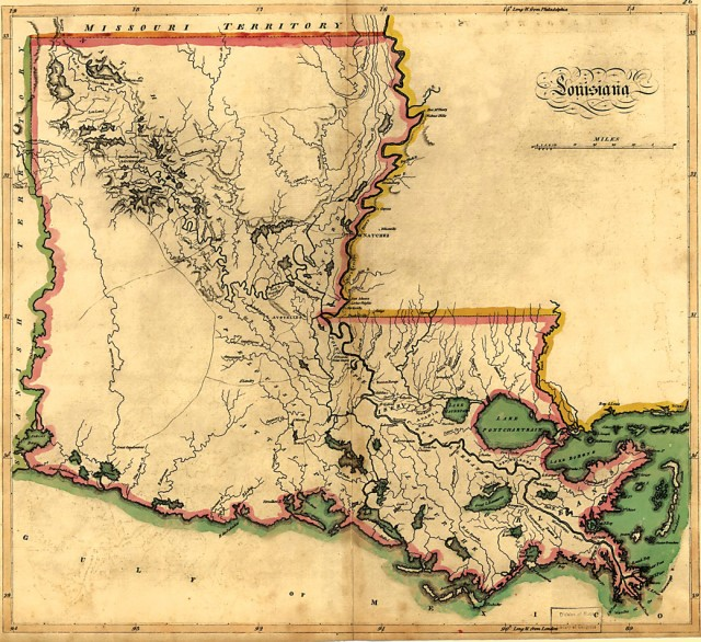 The conspicuously empty space in the southwestern corner of Mathew CareyÕs 1814 map of Louisiana marks the ÒNeutral GroundÓ agreed upon between Spain and the U.S. during 1806-1821. The term later found its way into the urban idiom of New Orleans. Courtesy of the Library of Congress