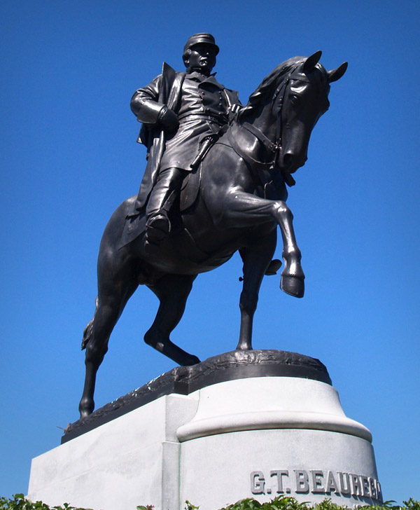 Statue of Confederate General Pierre Gustave Toutant Beauregard, located at the intersection of Esplanade Avenue and the entrance to New OrleansÕ City Park. Photo by David Johnson