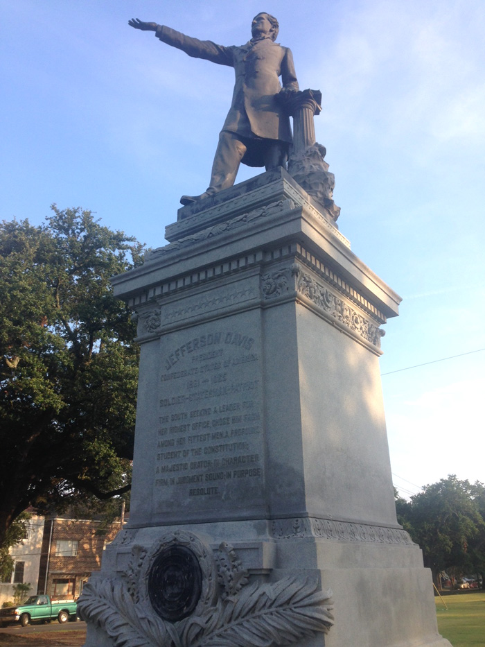 Statues of Jefferson Davis, including this one at the intersection of Canal Street and Jefferson Davis Boulevard in New Orleans, were intended to restore honor to the disgraced ex-president of the Confederacy. Photo by David Johnson