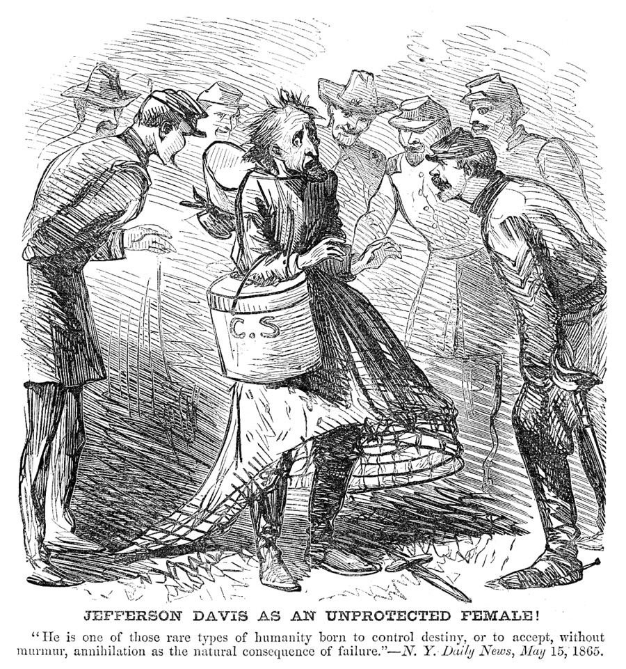 Cartoon from the New York Daily News of May 15, 1865, mocking Jefferson Davis as a disgraced Confederate leader disguised in womenÕs clothing upon his capture by Federal officers.