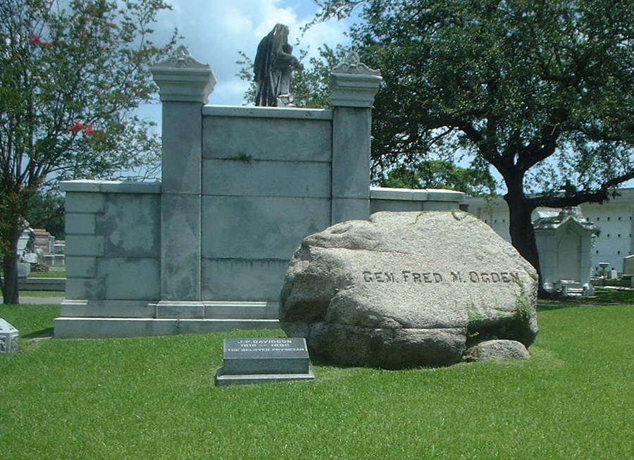 Grave site of General Fred Nash Ogden at Metairie Cemetery. Ogden was a major figure associated with the 1874 Battle of Liberty Place. Photo by Justin Nystrom