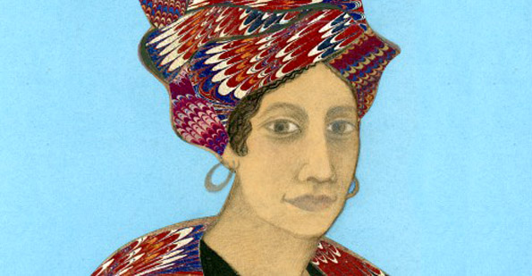 Collage illustration of Marie Laveau by Carolyn Morrow Long.