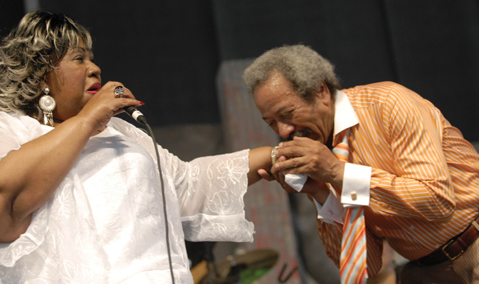 After performing a duet, Allen Toussaint kisses singer Marva WrightÕs hand at the 2007 New Orleans Jazz and Heritage Festival.Photo by Cheryl Gerber