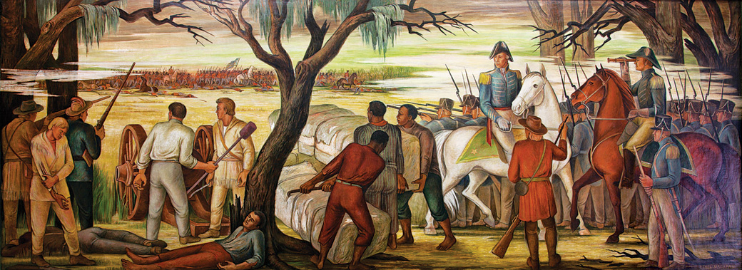 The mural Andrew Jackson at the Battle of New Orleans, January 8, 1814, by Ethel Magafan, located at the Recorder of Deeds building in Washington, D.C., includes African Americans among troops under Jackson's command. Courtesy of the Library of Congress