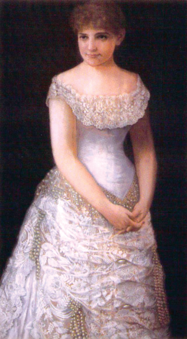 Susie Richardson, who reigned as Queen of Carnival and as Queen of the Krewe of Proteus in 1883, is seen in her elaborate debut gown in this pastel portrait.