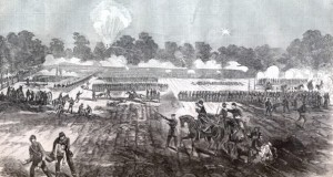 The Battle of Irish Bend Louisiana sketched by William Hall for Harper's Weekly, May 16, 1863.